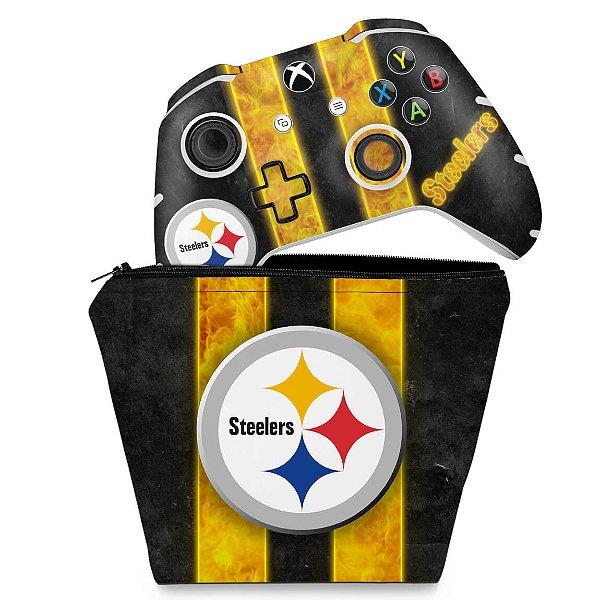 KIT Capa Case e Skin Xbox One Slim X Controle - Pittsburgh Steelers - NFL