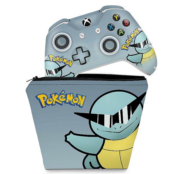 KIT Capa Case e Skin Xbox One Slim X Controle - Pokemon Squirtle