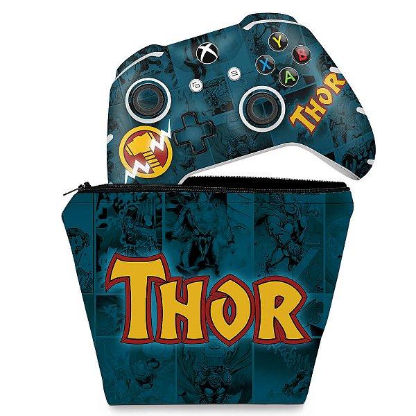 KIT Capa Case e Skin Xbox One Slim X Controle - Thor Comics