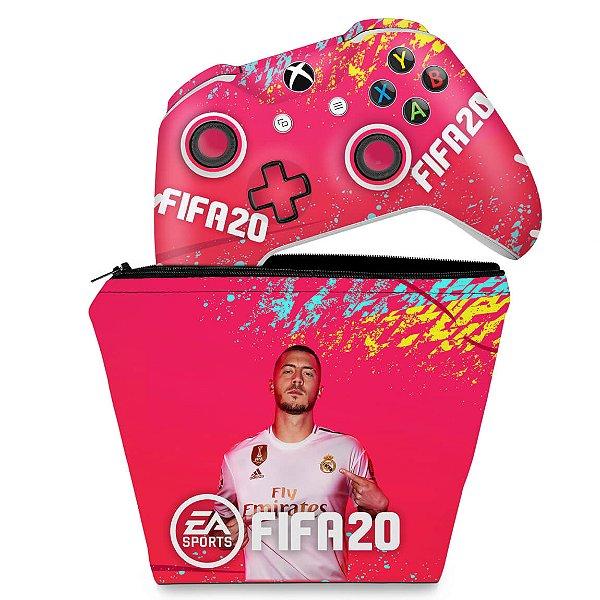 KIT Capa Case e Skin Xbox One Slim X Controle - FIFA 20