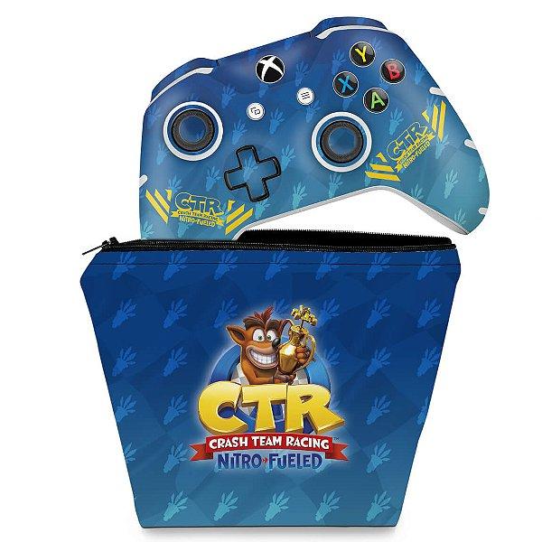 KIT Capa Case e Skin Xbox One Slim X Controle - Crash Team Racing CTR