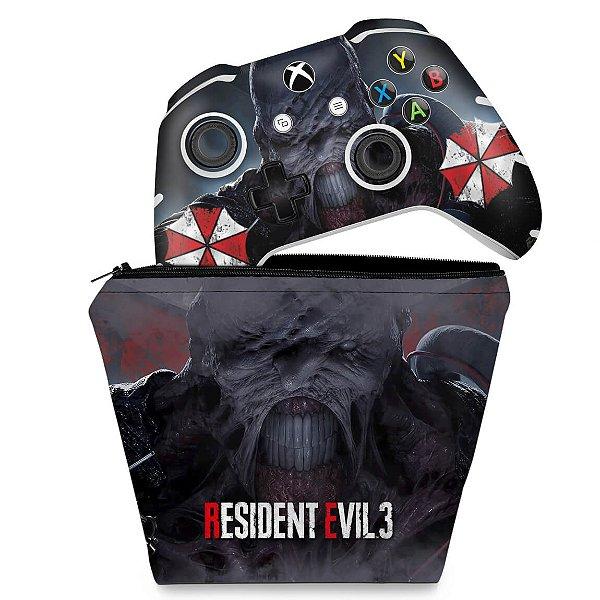 KIT Capa Case e Skin Xbox One Slim X Controle - Resident Evil 3 Remake