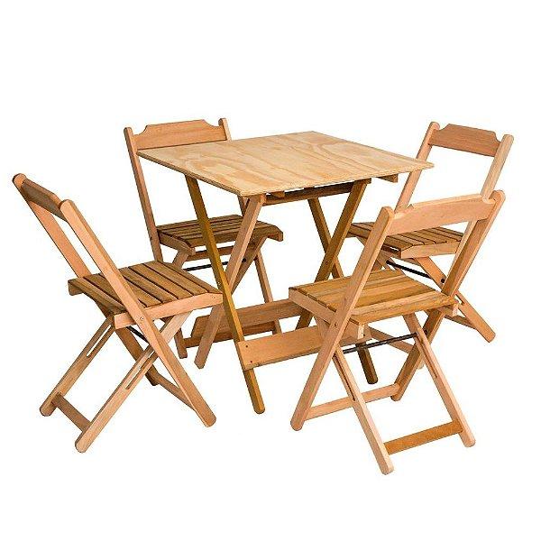 Conjunto de mesa e cadeira madeira