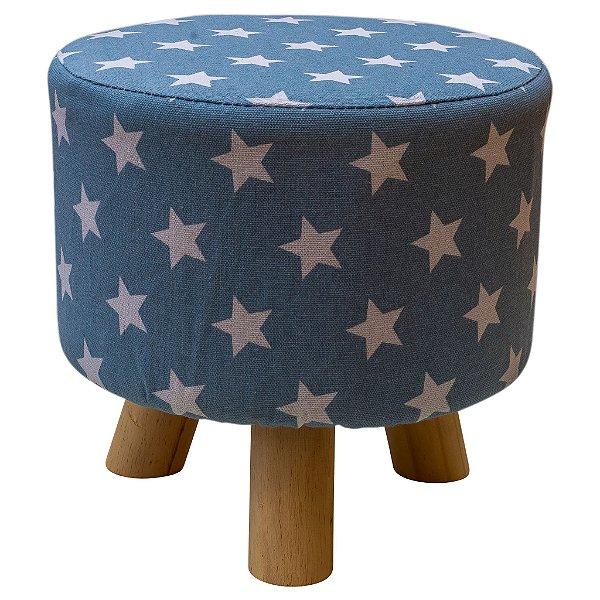 Puff  azul em tecido de estrelas