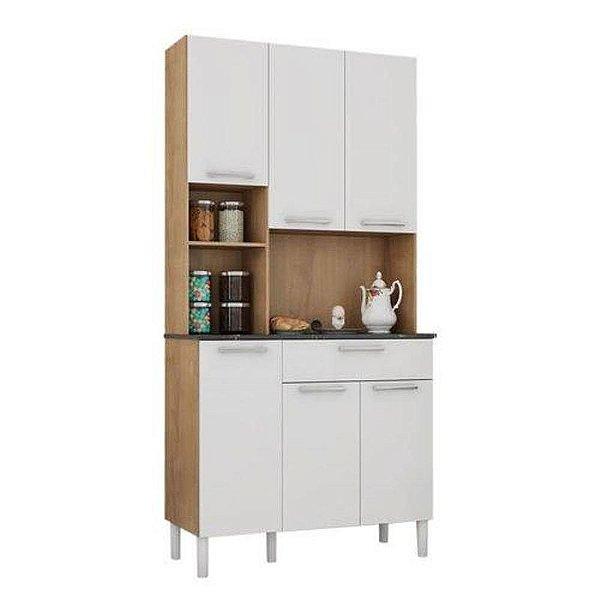 Kit de Cozinha 6 Portas 1 Gaveta Tannat Ronipa Castanho/Branco