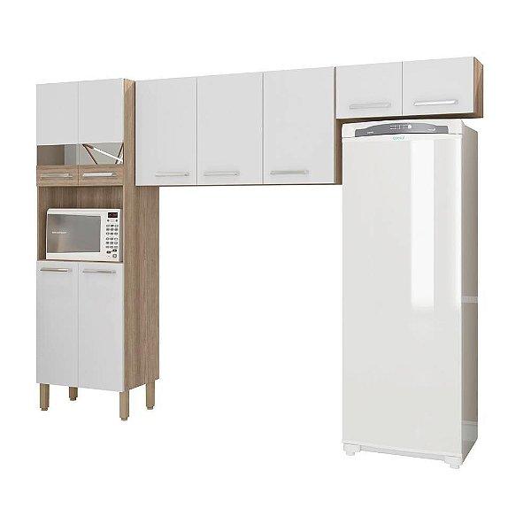 Cozinha 9 Portas Versalhes Kits Paraná Nogal/White