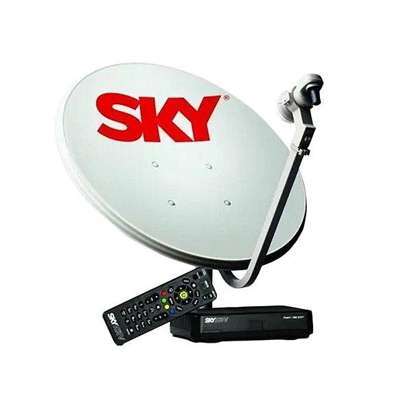 Kit Receptor Sky Conforto HDTV + Antena 60cm Pré-Pago