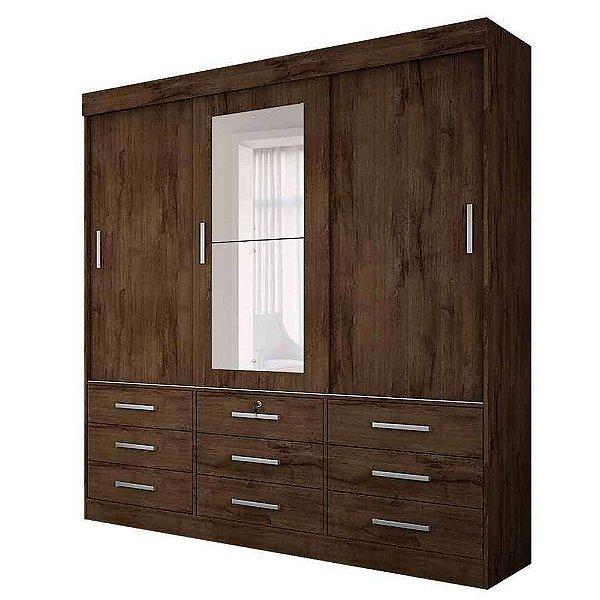 Guarda Roupa Casal Com Espelho 3 Portas 9 Gavetas  Sonare Novo Horizonte Canela
