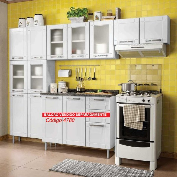 Cozinha Bertolini Multipla Compacta 3 Pecas 2 Vidros Branco Paneleiro Duplo 2 Vidros Armarios Aereos