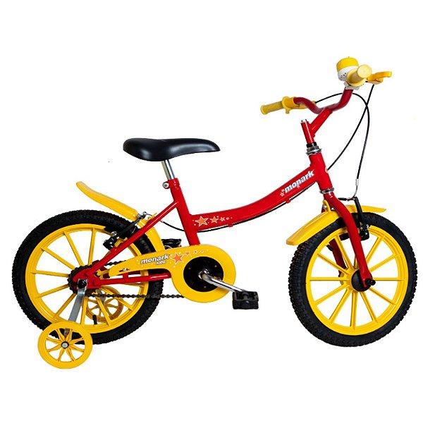 Bicicleta Infantil Kids Aro 16 Vermelho e Amarelo Monark