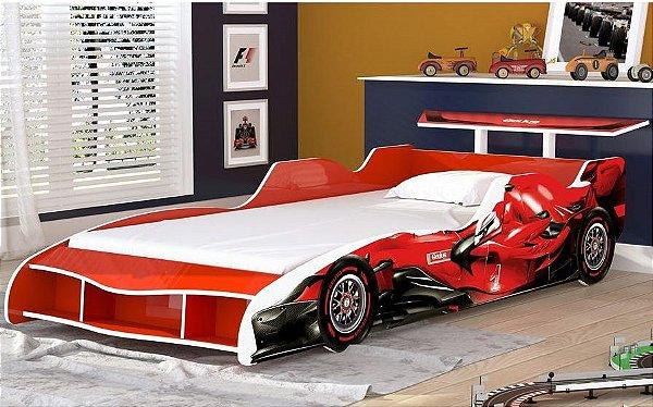 Cama Infantil Carro F1 090 Vermelho Gelius