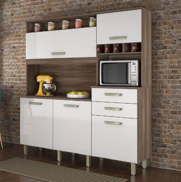 Kit Cozinha 5 Portas Smart Nogal/Branco Nesher