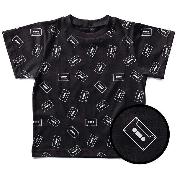 Camiseta Infantil Estampinha Fitas K7, Let's Rock Baby