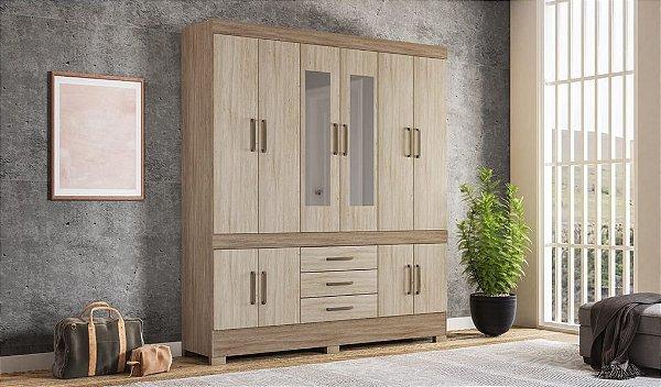 Guarda Roupa 10 Portas New Murano Com espelho Demóbile Nogal Vanilla Touch