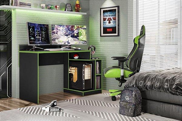 Mesa Gamer Preto Fosco Liso / Verde Albatroz Play
