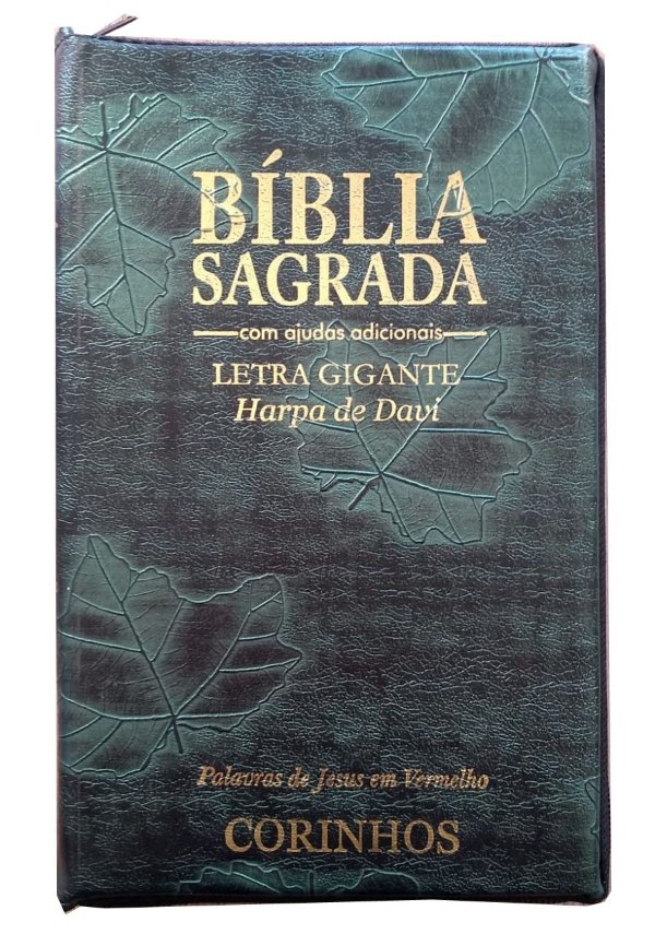 BÍBLIA LETRA GIGANTE COM HARPA - CAPA COM ZÍPER CAPA FOLHA VERDE