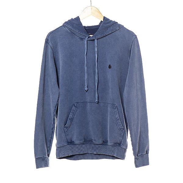Casaco Moletom Hop.oh com capuz e bolso canguru unissex - marmorizado azul