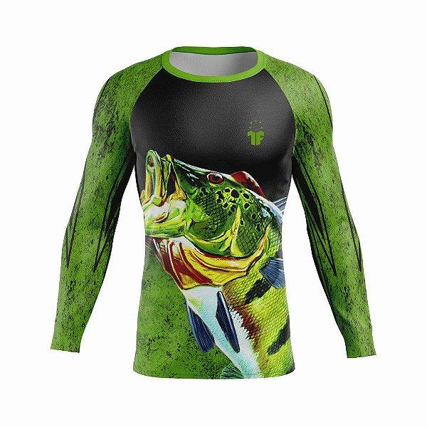 Camiseta de Pesca Esportiva Tucunaré Proteção UV+ Manga Longa