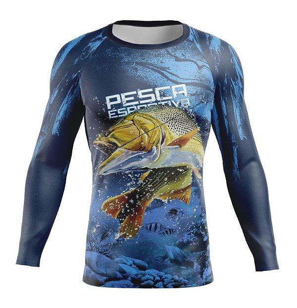 Camisa de Pesca Esportiva Dourado Proteção UV Azul Manga Longa Adulto PP ao XGG