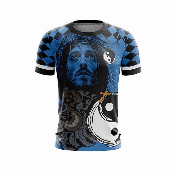 Camisa de Quebrada Grau Favela Tony Country Azul Cobalt Manga Curta Proteção UV