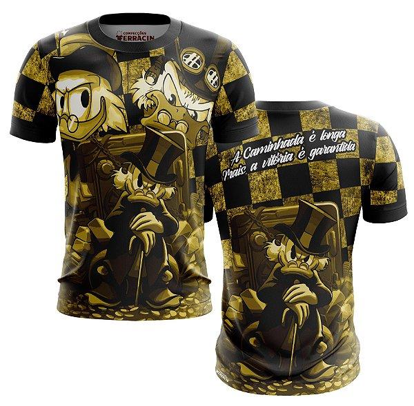 Camisa Tio Patinhas Mina Ouro Quebrada Favela Dourado Manga Curta Proteção UV