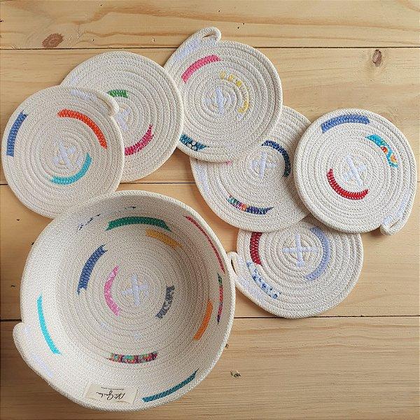 Kit Cesta e porta copos - coleção Colore