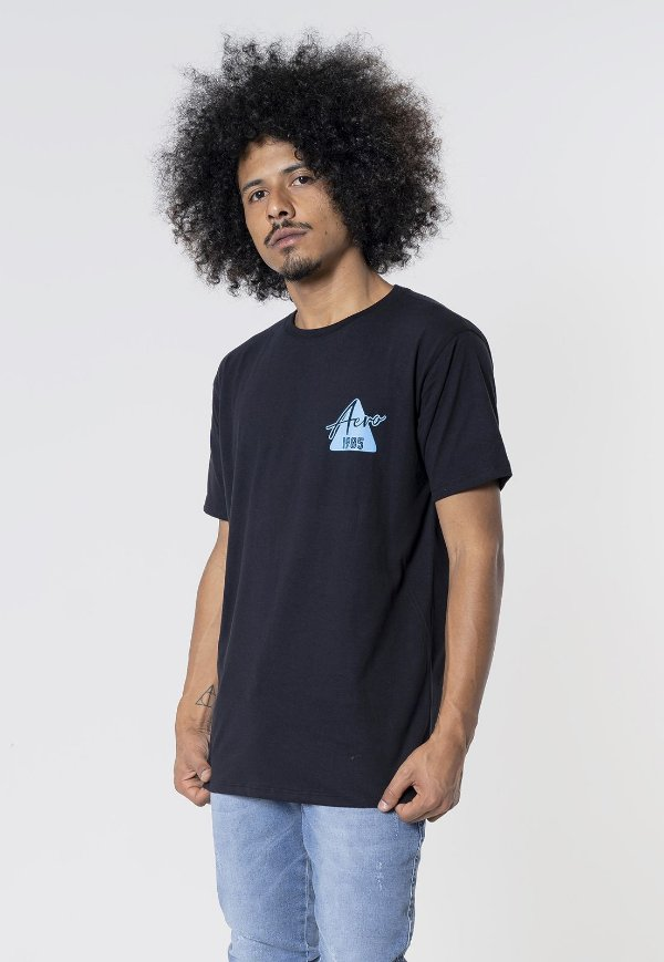Camiseta Aero Jeans Triangulo 1985 Preta