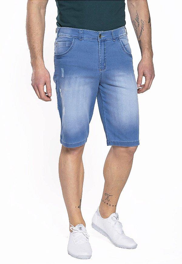 Bermuda Jeans Skinny Azul