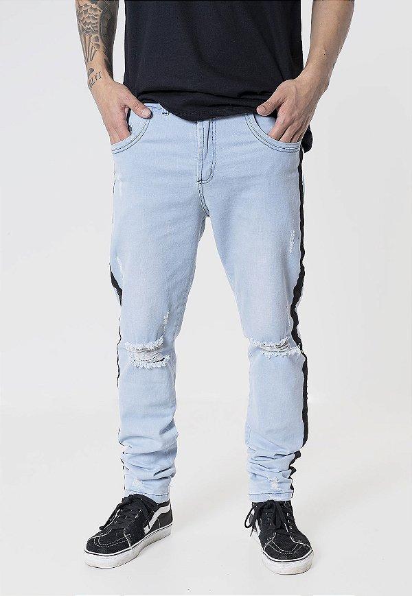 Calça Jeans Skinny Destroyed Azul com Listras