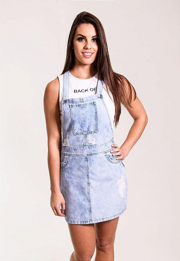 Jardineira Jeans Azul