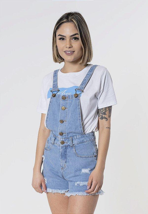 Jardineira Jeans Destroyed Azul