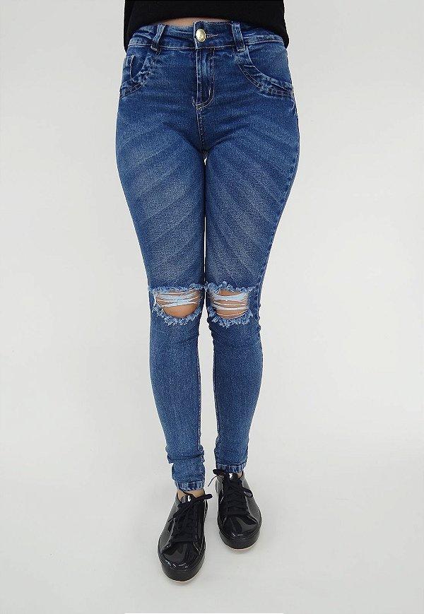 Calça Jeans Skinny Destroyed Azul