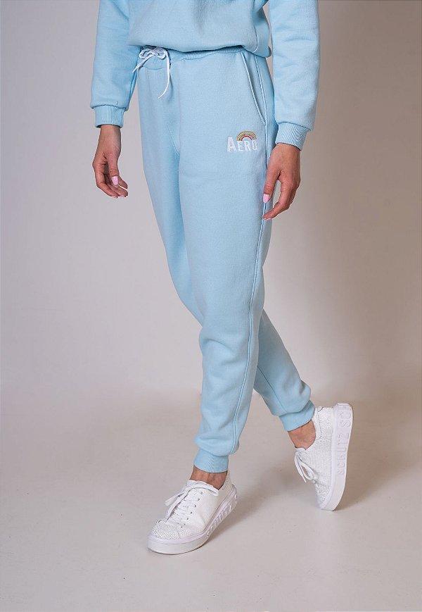 Calça de Moletom Jogger Azul Arco iris