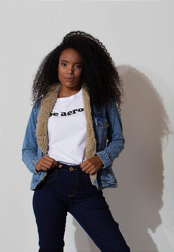 Jaqueta Jeans Forrada com pelo bege