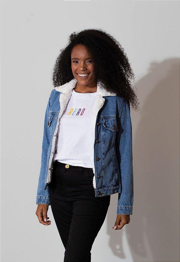 Jaqueta Jeans Aero Jeans forrada com pelo off white