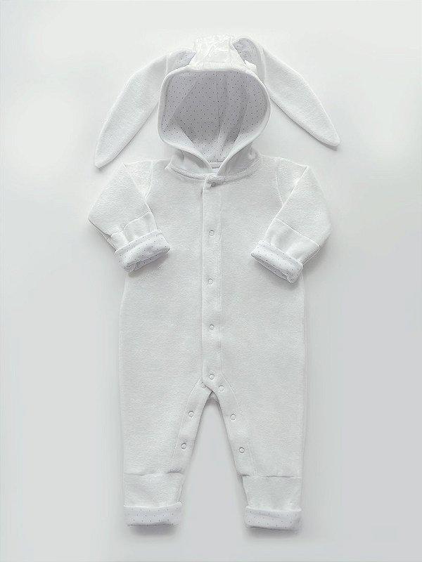 Macacão Longo Coelho Branco em Plush