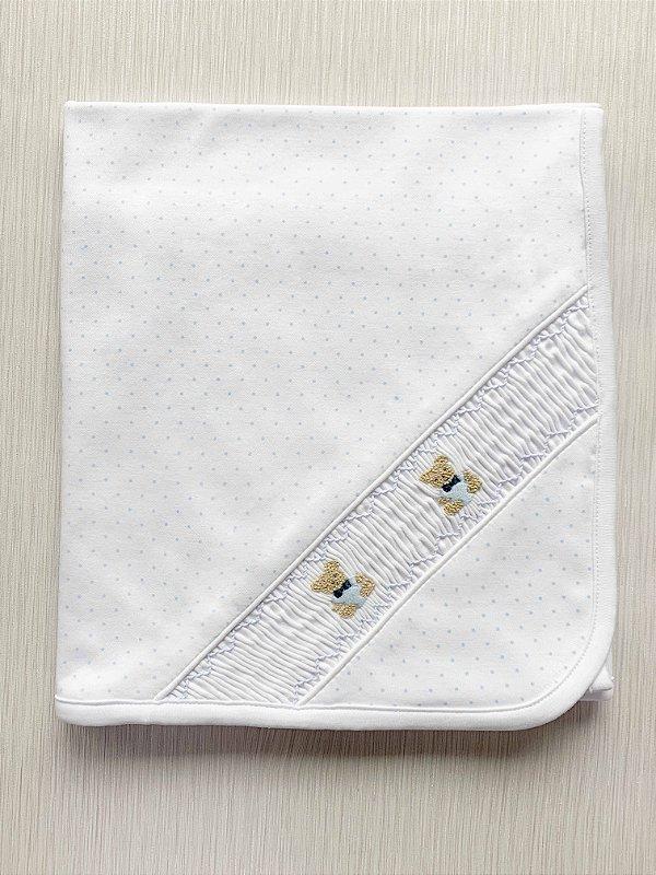 Manta Branca com bolinhas azuis Smock Ursinho em Algodão Pima Peruano