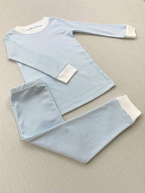 Pijama Comprido Listras Azul com Branco em Algodão Pima