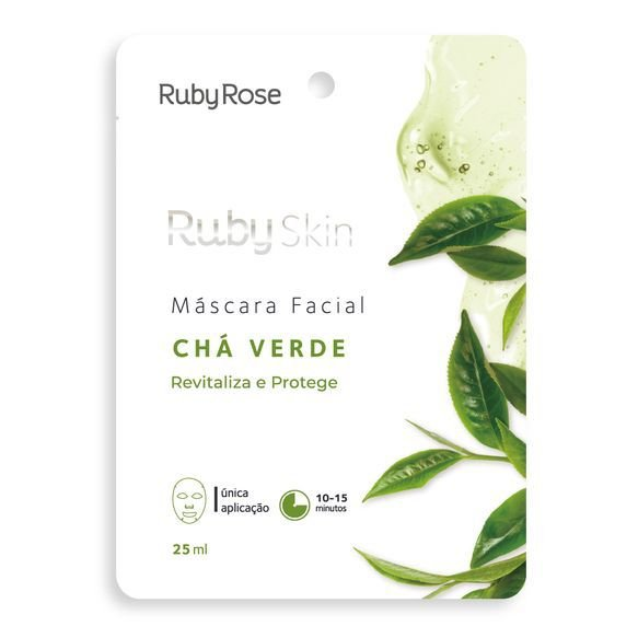 Máscara Facial de Tecido Chá Verde Skin Ruby Rose 25ml