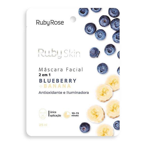 Máscara Facial de Tecido Blueberry e Banana Skin Ruby Rose 25ml