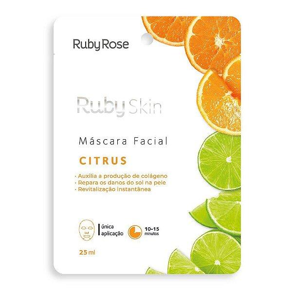 Máscara Facial de Tecido Citrus Skin Ruby Rose 25ml