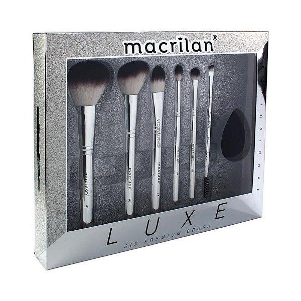 Kit Luxe Profissional Macrilan 6 Pínceis e 1 Esponja