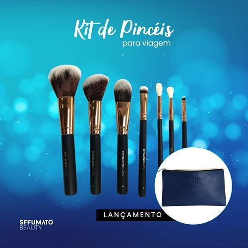 Kit De Pincéis para Maquiagem Sffumato Beauty 7 unidades + Necessaire