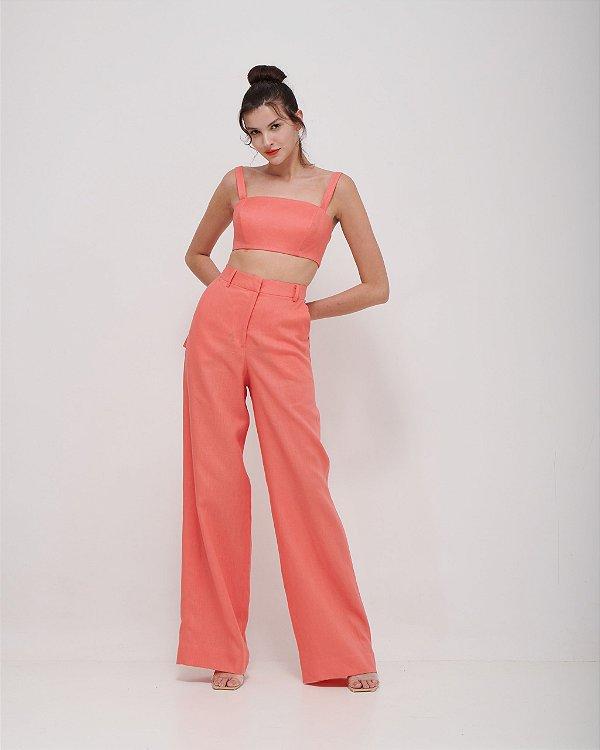 Calça Pantalona Alfaiataria Tropical em Sarja