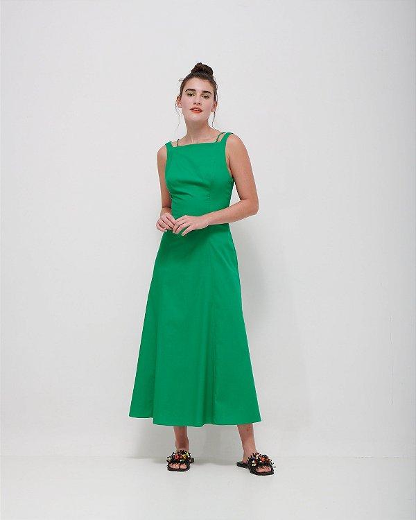 Vestido Decote Costas Trabalhado em Tricoline Premium