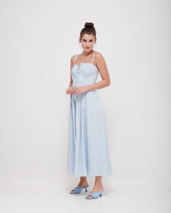 Vestido Pregas e Zíper Frontal em Tricoline Premium