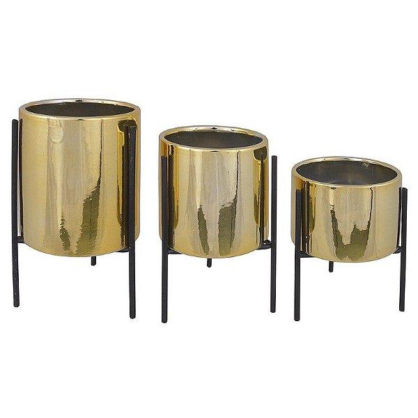 Kit Vasos Cerâmica Dourado com Suporte