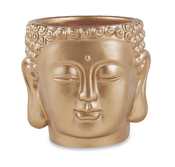 Cachepot Buda Dourado em Cimento
