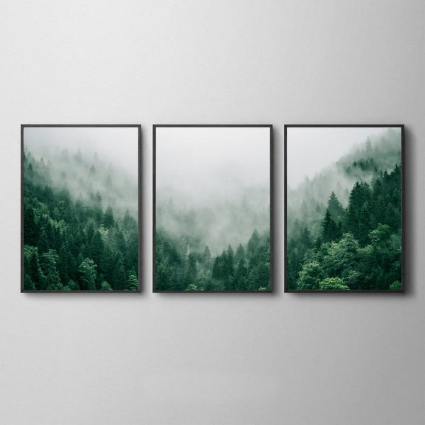 Trio de Quadros Floresta Verde Neblina