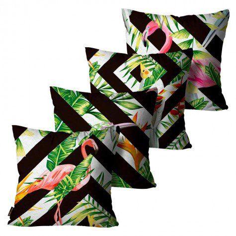 Kit com 4 Almofadas Peluciada Flamingo